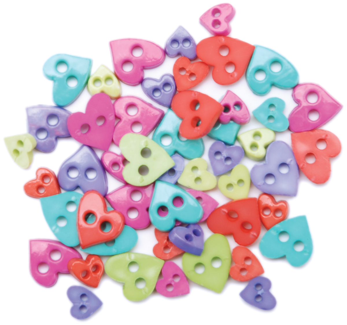 Favorite Findings Mini Shaped Buttons 49/Pkg-Pretty Hearts