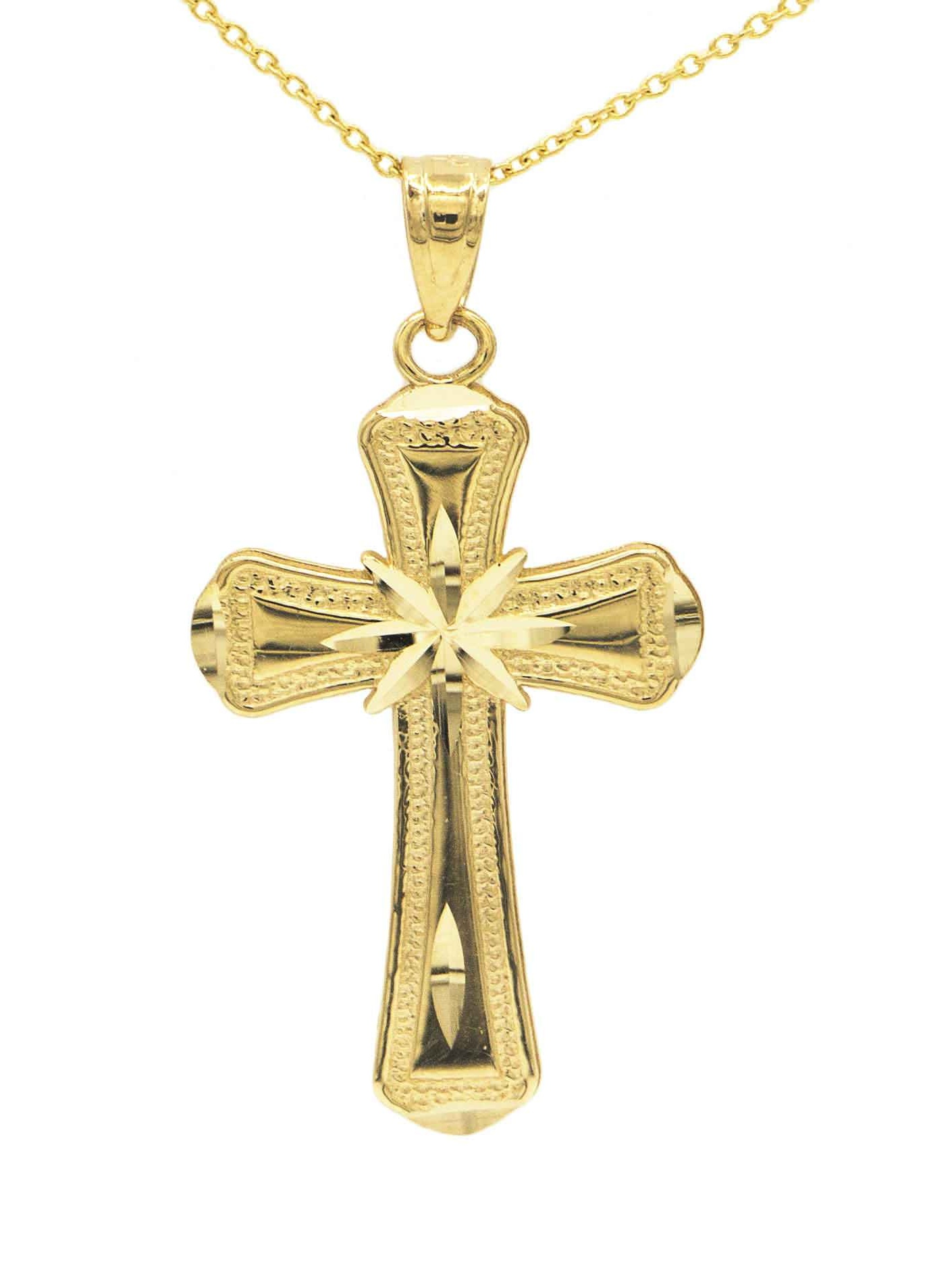 Ice on Fire Jewelry 14k Yellow Gold Crucifix Necklace