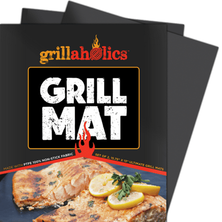 Grillaholics Grill Mat - Heavy Duty BBQ Grill Mats - Non Stick, Reusable, and Easy to Clean - Set of 2 ()