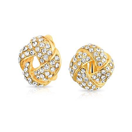 Clear Crystal Pierced Earrings - Woven White Clear Crystal Love Knot Work Clip On Earring For Women Non Pierced Ears 14K Gold Plated Brass