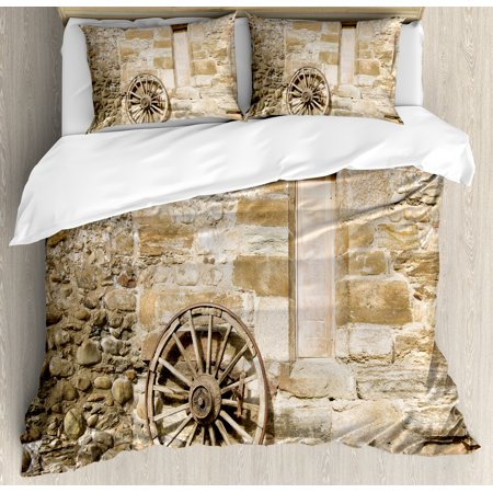 Barn Wood Wagon Wheel King Size Duvet Cover Set  Ancient Rural Facade With Old Wheel Traditional Country House  Decorative 3 Piece Bedding Set With 2 Pillow Shams  Brown Light Brown  By Ambesonne