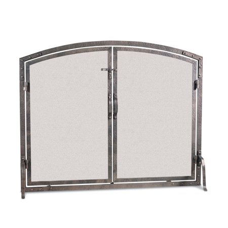 Old World Forged Iron Arched Door Fireplace Screen 42 W X 34 H