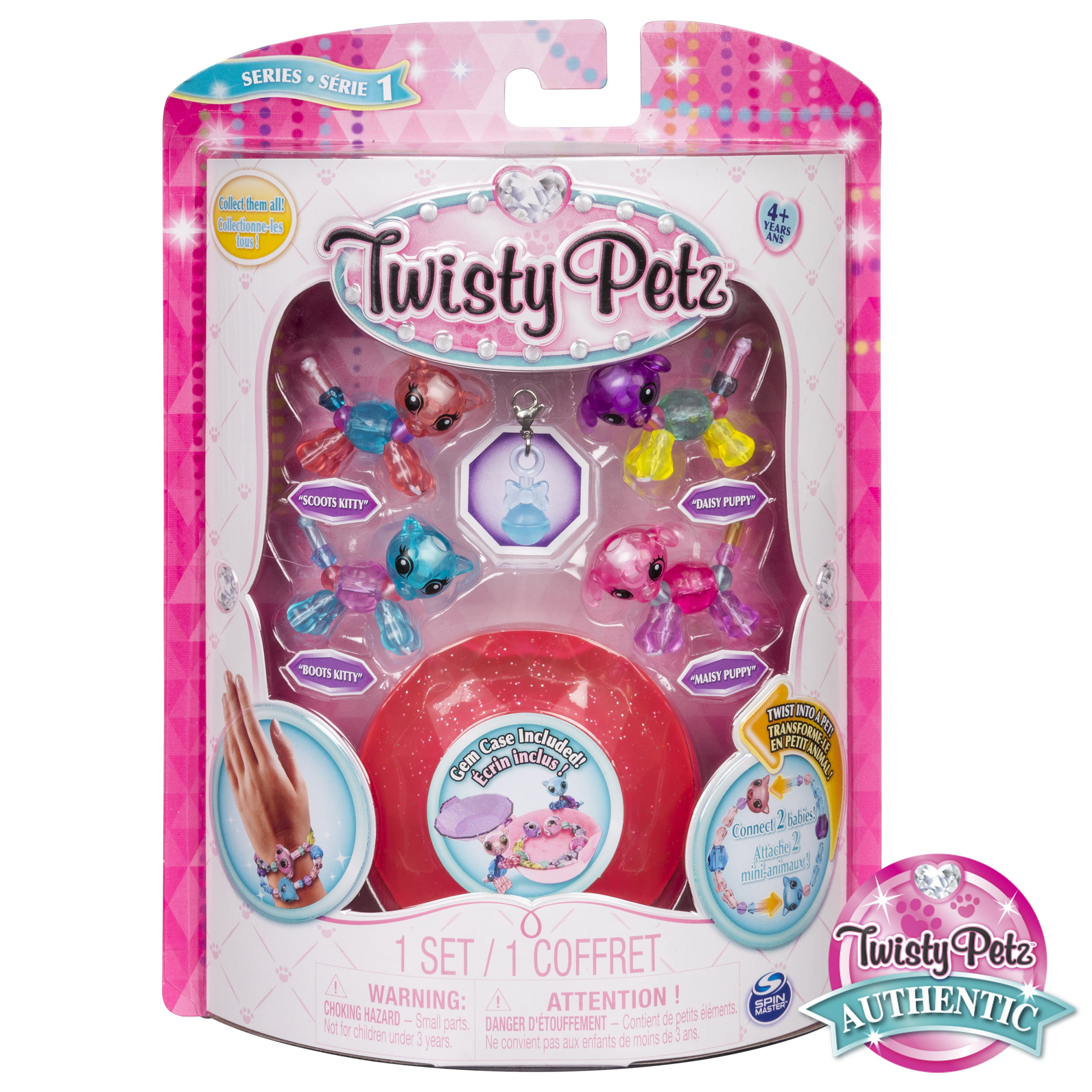 Babies 4-Pack Kitties and Puppies Collectible Bracelet Set for Kid Twisty Petz
