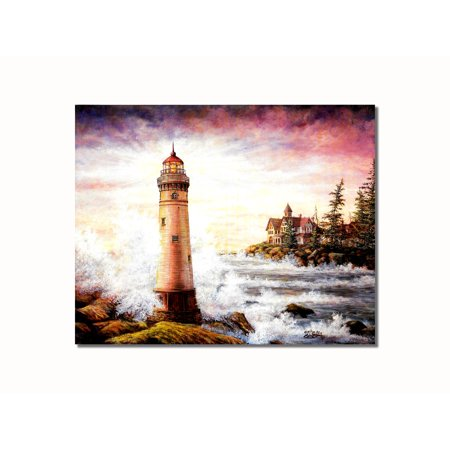 Lighthouse and Victorian House on Ocean Wall Picture 8x10 Art