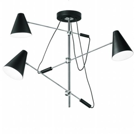 3 Light Pendant with Adjustable Arms & Metal Shades, Polished Chrome, Matte Black