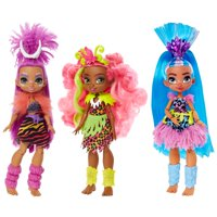 3-Pack Cave Club 10 Inch Poseable Prehistoric Fashion Dolls with Neon Hair