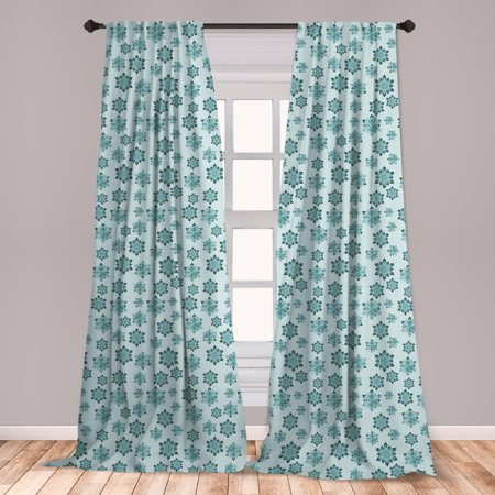 Teal Curtains 2 Panels Set, Wintertime Inspiration Ornate Abstract Snowflakes in Pale Colors Christmas, Window Drapes for Living Room Bedroom, Pale Blue Teal Grey, by Ambesonne ()