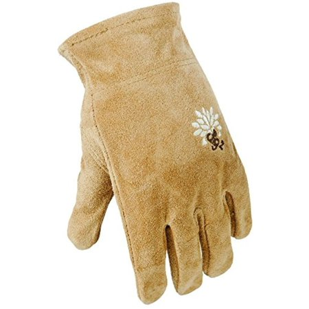 (4 Pack Digz Womens Large Full Suede Leather All Purpose Work/Garden Gloves (4 Pair))