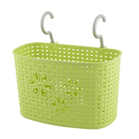 Unique Bargains Home Kitchen Plastic Green Rectangular Hanging Hook Storage Box Holder Basket - Hanging Baskets Container