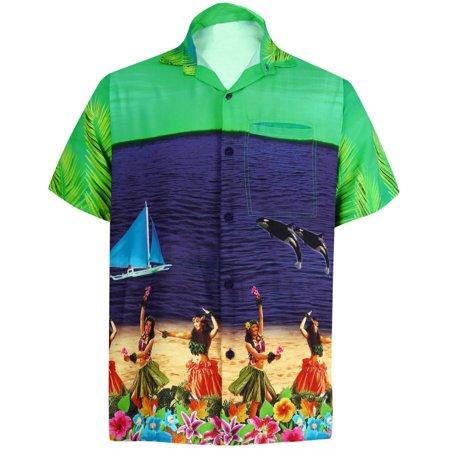 Cashmere Button Front - HAPPY BAY Men's Beach button down Hawaiian Men's Front Pocket Aloha Hawaiian Tropical ShirtNAVY_W556