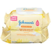 JOHNSON'S Hand & Face Baby Wipes Twin Pack, 2 x 25 Count