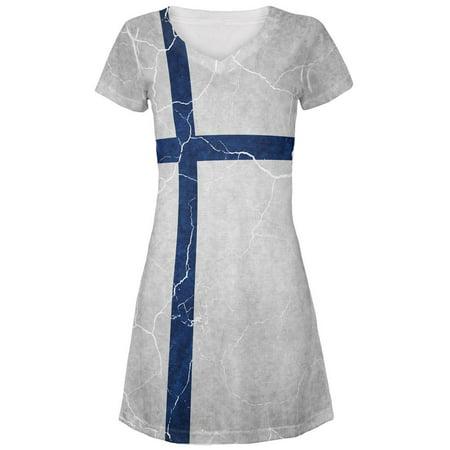 Distressed Finland Flag Juniors V-Neck Beach Cover-Up Dress