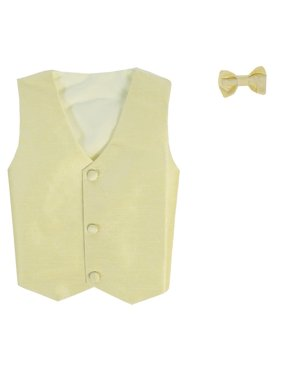 Little Boys Yellow Poly Silk Vest Bowtie Special Occasion Set 4T
