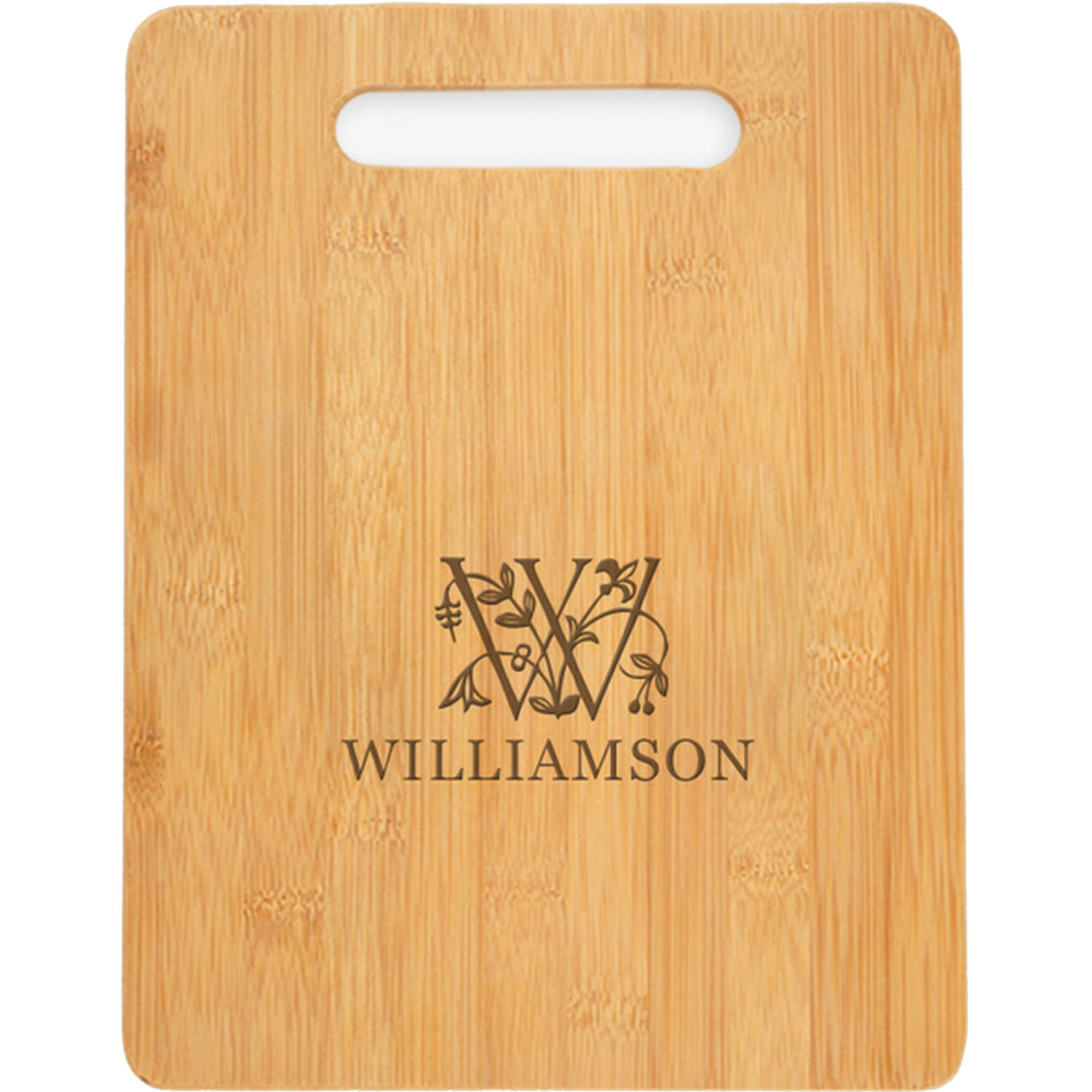 "Personalized Initial and Vine Cutting Board, Sizes 12.5"" x 11.5"" and 12.5"" x 13.75"""