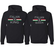 Italian King Queen Classic Italy Pride His and Hers Matching Couples Hoodies Sweatshirt Set, Black, Mens S-Womens S