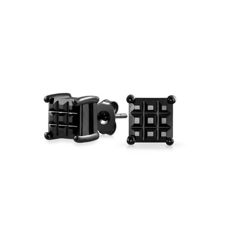 Mens Invisible Set - Mens Basket Set Invisible Cut Black CZ .925 Sterling Silver Stud earrings 5mm