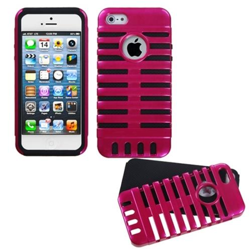 Insten Hot Pink/Black Microphone Fusion Case For iPhone SE 5s