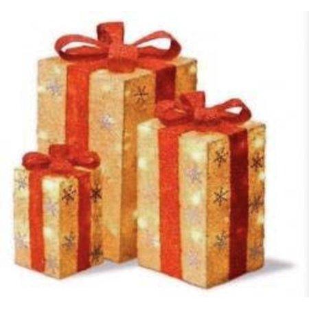 Set of 3 Tall Gold Sisal Gift Boxes Lighted Christmas Yard ...