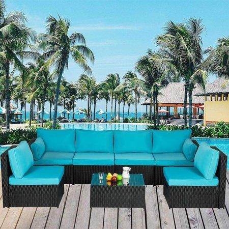 7 PCs Outdoor Sectional Sofa Patio Furniture, PE Rattan Wicker Sofa, Patio Furniture Sets