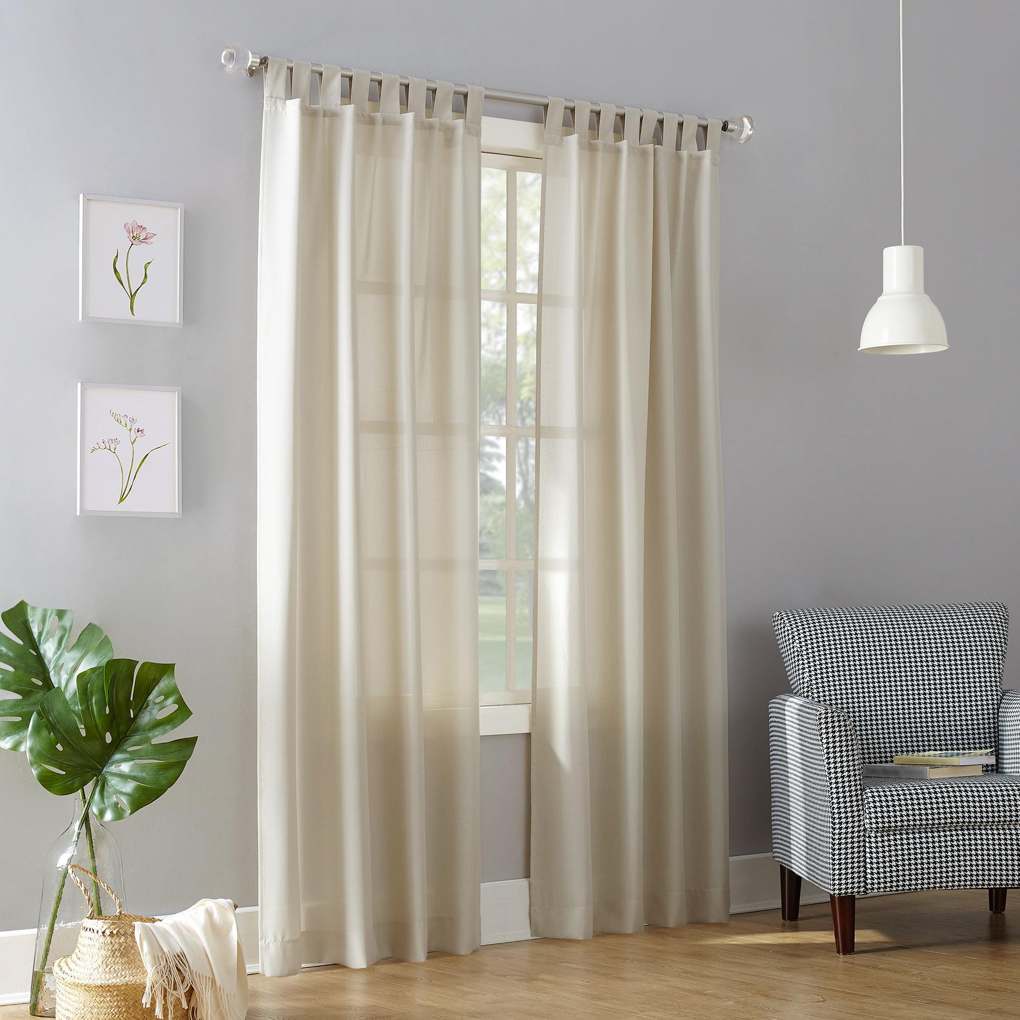 No. 918 Farrell Semi-Sheer Tab Top Curtain Panel - Walmart ...