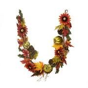 5' Gold Pumpkin and Red Sunflower Autumn Harvest Artificial Thanksgiving Garland - Unlit