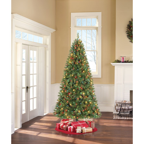 Holiday Time Pre-Lit 7.5' Kennedy Fir Artificial Christmas Tree, Multi-Color Lights