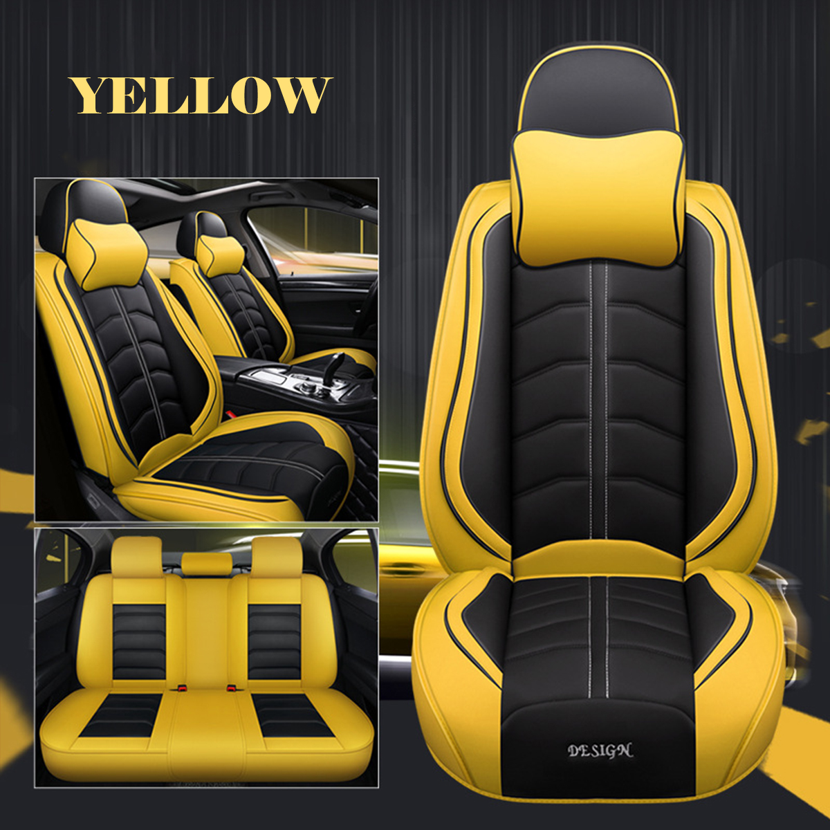 Universal Seat Covers Set PU Leather Seat Covers SUV For Car Full Van