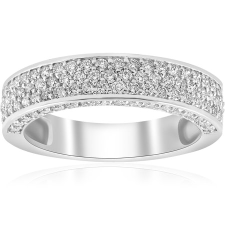 1 ct Diamond Pave Wedding Ring Womens Anniversary Stackable Band 14k White Gold - Pave Band Platinum Ring