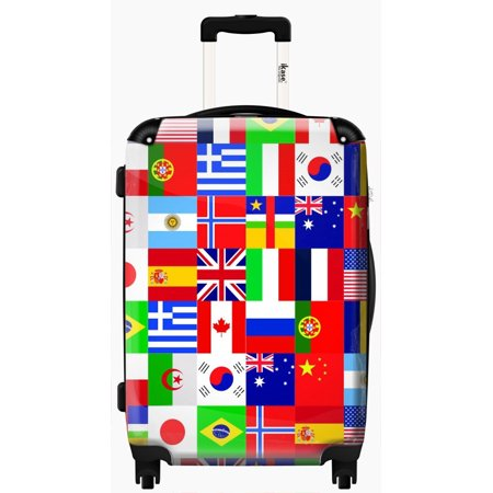 iKase Suitcase Flag patchwork - Check-in - - White Suitcase