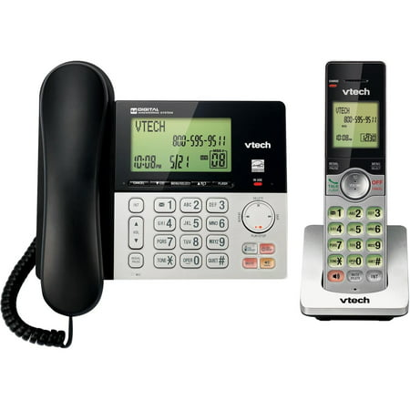 Caller Id Answering System (VTech CS6949 DECT 6.0 Expandable Cordless Phone with Answering System and Caller ID, 1 Add'l Handset, Silver/Black)
