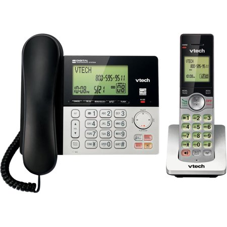 - VTech CS6949 DECT 6.0 Expandable Cordless Phone with Answering System and Caller ID, 1 Add'l Handset, Silver/Black