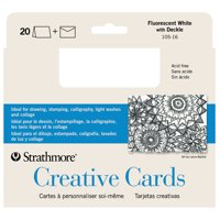 Strathmore Creative Cards, Full Size, Fluorescent White with Deckle, 20/Pkg.