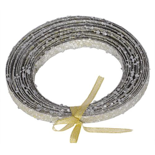 "Silver Glitter Plastic Craft Ribbon 0.5"" x 23'"