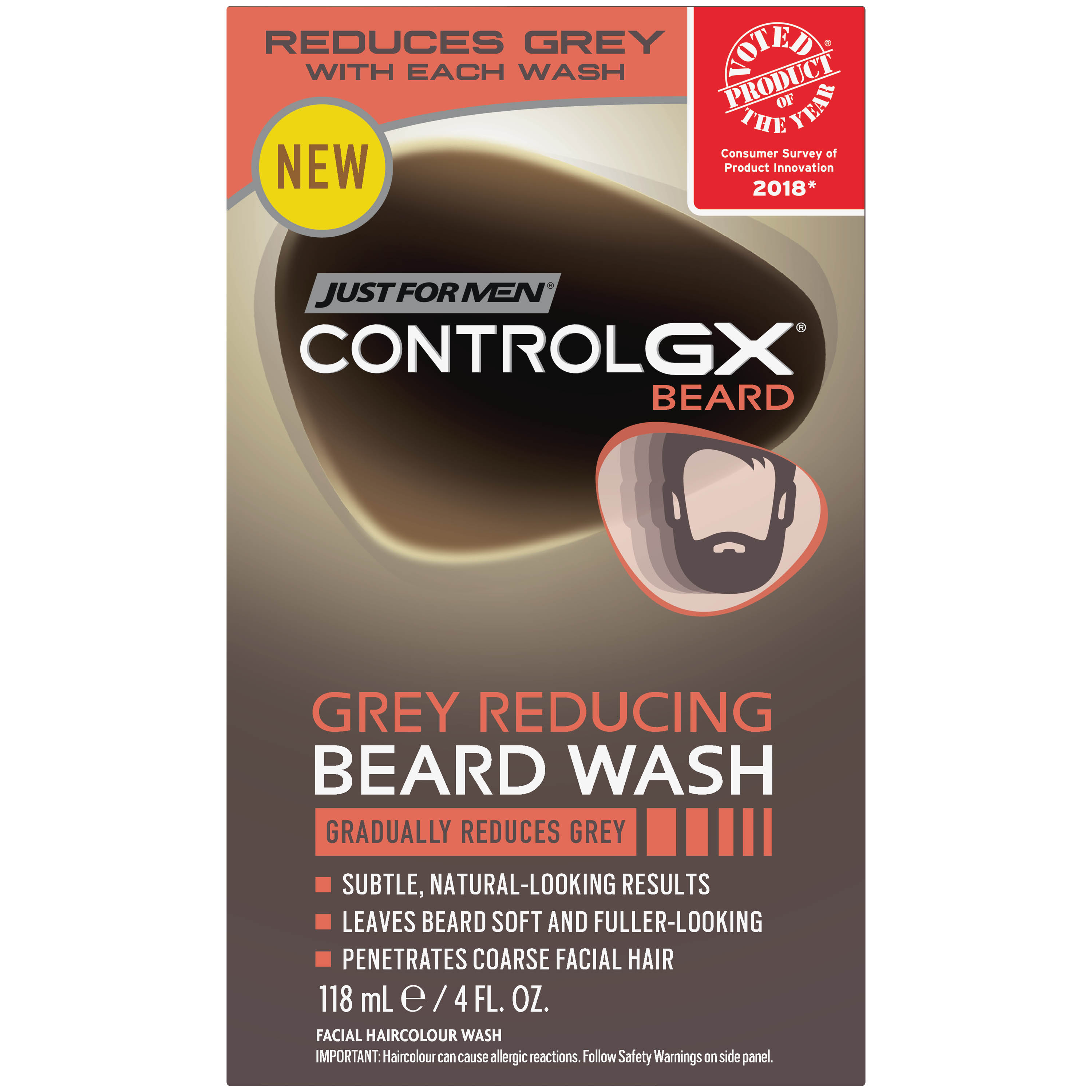 Just for Men Control GX, Grey Reducing Beard Wash and Conditioner that gradually reduces grey in facial hair, 4 Fluid Ounces.
