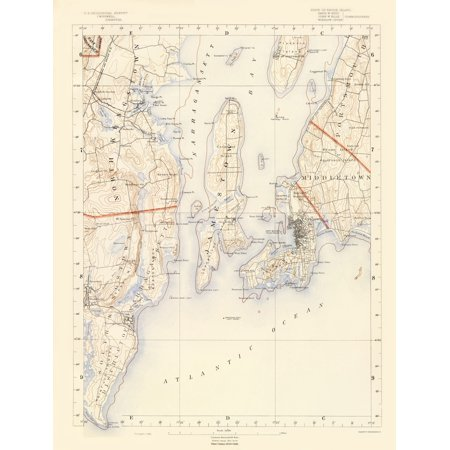 Topographic Map Rhode Island.Topographical Map Rhode Island 7 Of 10 Sheet Usgs 1891 23 X
