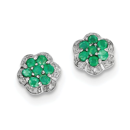 Sterling Silver Rhodium Emerald & Diamond Post Earrings. Carat Wt- 0.5ct (9MM)