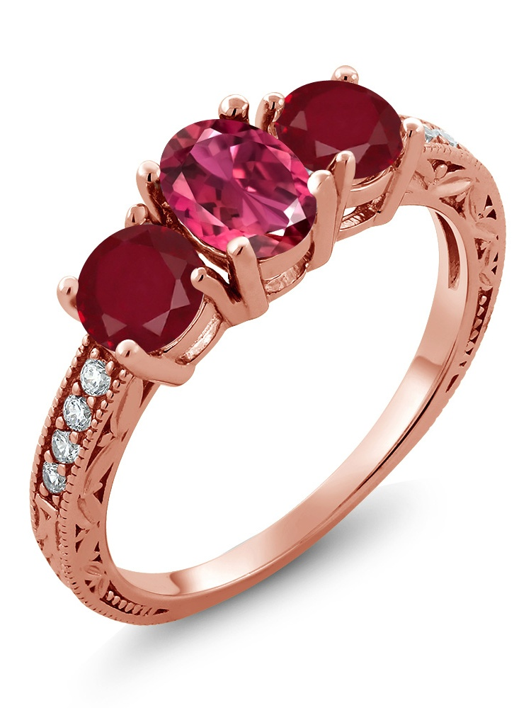 Gem Stone King 2.09 Ct Oval Pink Tourmaline Red Ruby 18K Rose Gold Plated Silver Ring by