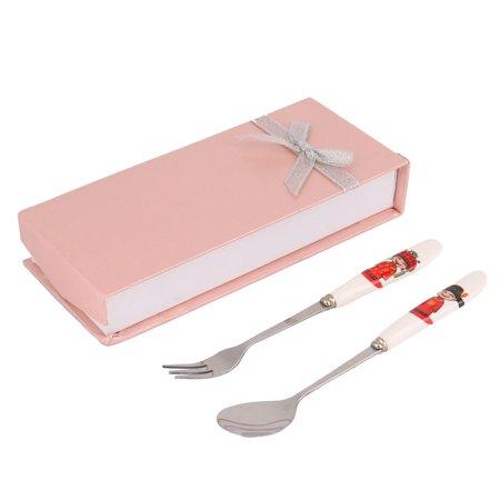 Houseware Travel Bride Bridegroom Printed Ceramic Handle Spoon Fork Cutlery Set