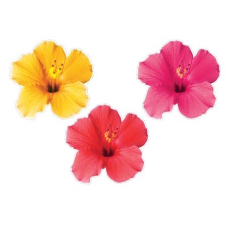 Club Pack of 24 Two-Sided Tropical Floral Flower Luau Cutout Hanging Party Decorations 16