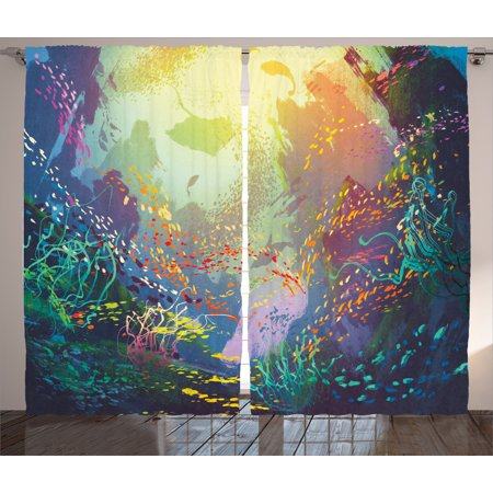 Underwater Fish Curtains 2 Panels Set Underwater With Coral Reef And Colorfu