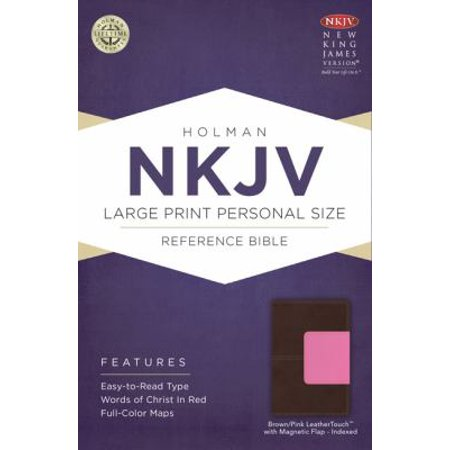 The Holy Bible: New King James Version Personal Size Reference Bible, Brown/Pink, Leathertouch With Magnetic Flap