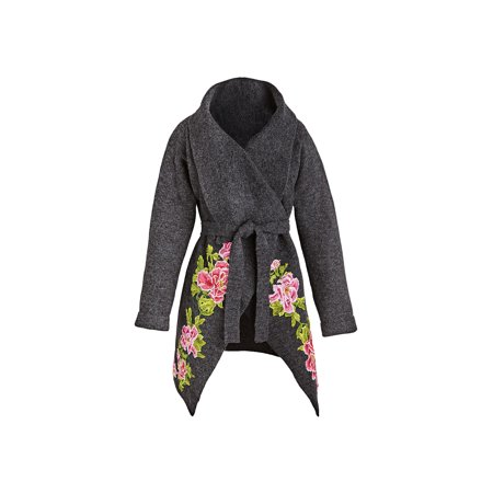 Women's Embroidered Roses Sweater - Gray Floral Accent -
