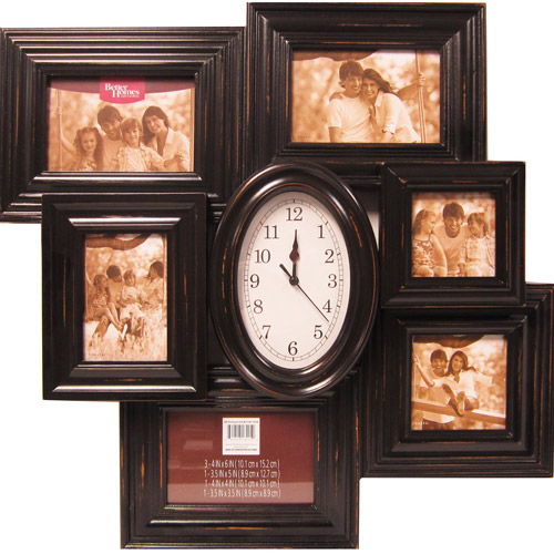 Better Homes And Gardens 6 Opening Picture Collage Frame With Clock, Black