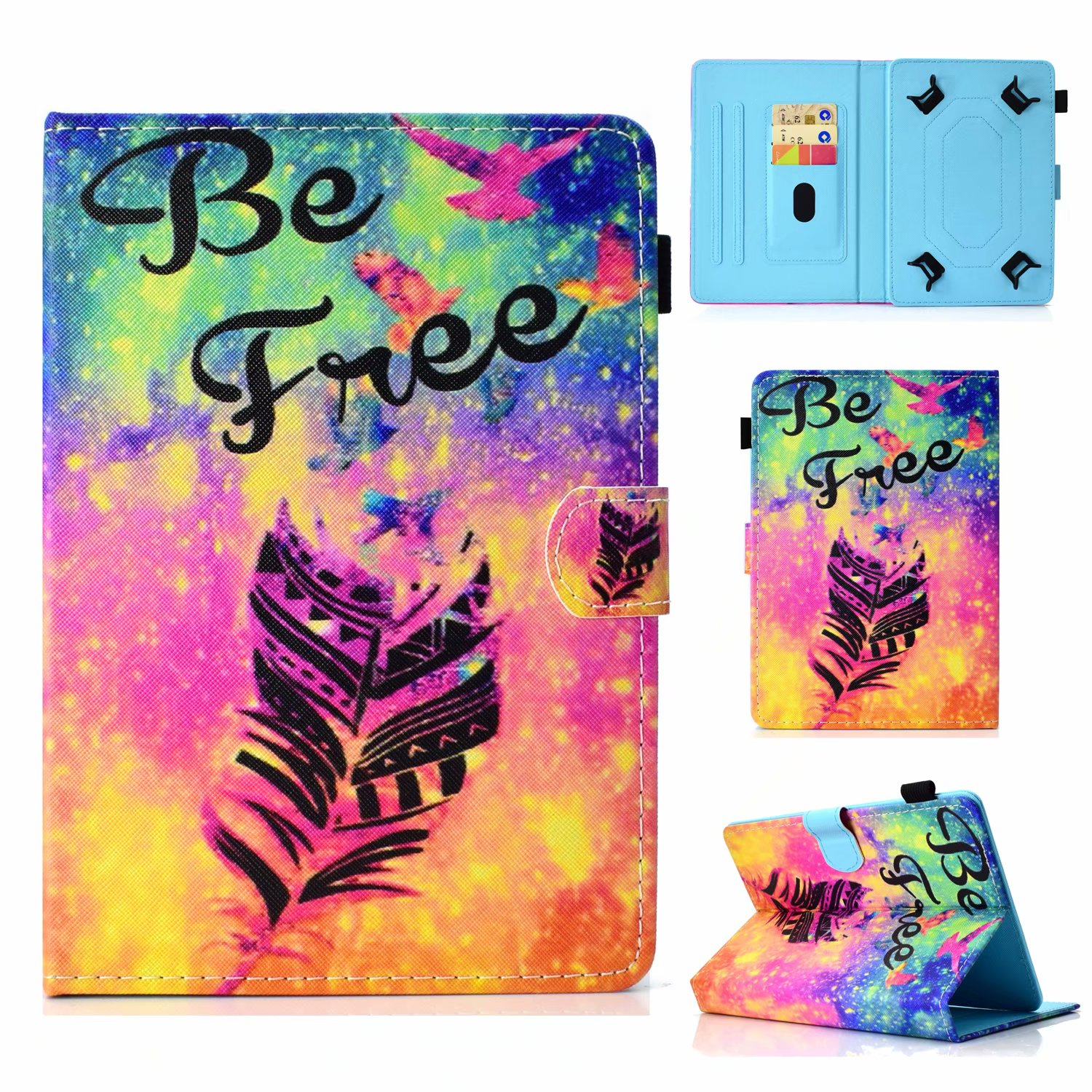 "Universal 10"" Tablet Case Flip Painted Leather Folio Stand Cover For iPad 9.7 / Samsung Tab A 10.1 / Amazon Fire HD 10.1"