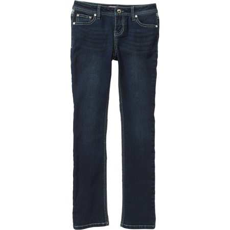Almost Famous Girls' Straight Leg Jeans with Crochet Panel and Back Flap Pockets