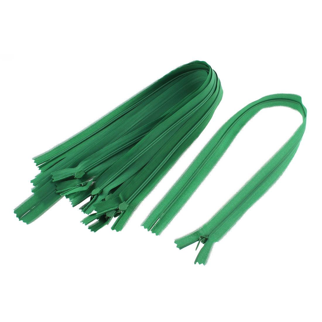 Unique Bargains Dress Pants Closed End Nylon Zippers Tailor Sewing Craft Tool Green 50cm 10 Pcs