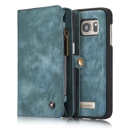 Galaxy S7 Wallet Case, Alleytech 2 in 1 Handmade Leather Zipper Wallet Case with Detachable Cover & Card Cash Pocket + Magnetic Clasp Closure for Samsung Galaxy S7 2016, Green ()