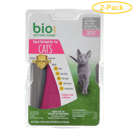 Bio Spot Active Care Flea & Tick Spot On for Cats Cats 2.5-5 lbs - 3 Month Supply - Pack of 2 Cats 3 Month Supply