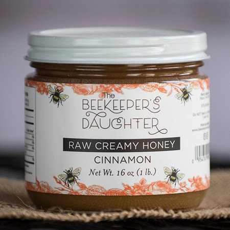 Raw Creamed Honey 1 Lb Jar by the Beekeeper's Daughter - Cinnamon Creamed Honey (1 pound)