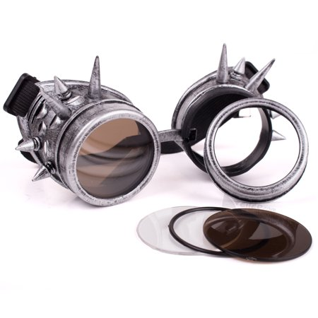 Veil Entertainment Steampunk Costume Cosplay Goggles w/ Spikes, Silver, One
